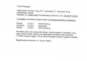 Tájékoztató - Dr. Koczor Gábor szabadság